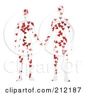 Royalty Free RF Clipart Illustration Of A Couple With Hearts On Their Bodies Holding Hands by mheld