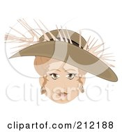 Royalty Free RF Clipart Illustration Of A Pretty Sepia Woman Wearing A Feathered Hat