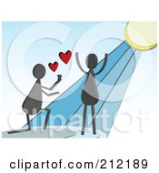 Royalty Free RF Clipart Illustration Of A Gray Man Kneeling And Proposing To A Happy Woman by mheld