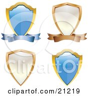 Collection Of Four Coat Of Arms Shields Blue And White With Scrolls
