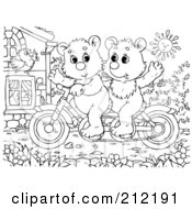 Royalty Free RF Clipart Illustration Of A Coloring Page Outline Of Bear Cubs Riding A Bike by Alex Bannykh