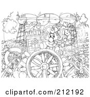 Royalty Free RF Clipart Illustration Of A Coloring Page Outline Of A Captain Steering His Ship by Alex Bannykh