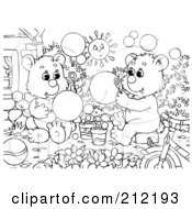 Royalty Free RF Clipart Illustration Of A Coloring Page Outline Of Bear Cubs Blowing Bubbles