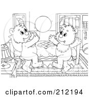 Royalty Free RF Clipart Illustration Of A Coloring Page Outline Of Bear Cubs Playing Catch