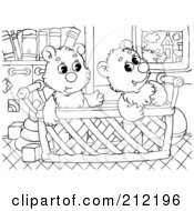 Royalty Free RF Clipart Illustration Of A Coloring Page Outline Of Bear Cubs In A Basket
