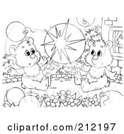 Royalty Free RF Clipart Illustration Of A Coloring Page Outline Of Bear Cubs Popping A Balloon
