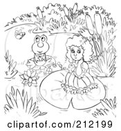 Royalty Free RF Clipart Illustration Of A Coloring Page Outline Of A Sad Girl By A Frog by Alex Bannykh