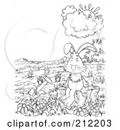 Royalty Free RF Clipart Illustration Of A Coloring Page Outline Of A Sad Rabbit By A Garden