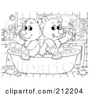 Royalty Free RF Clipart Illustration Of A Coloring Page Outline Of Bear Cubs In A Tub by Alex Bannykh