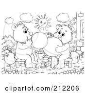 Royalty Free RF Clipart Illustration Of A Coloring Page Outline Of Bear Cubs Blowing Up Balloons