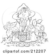 Royalty Free RF Clipart Illustration Of A Coloring Page Outline Of A Happy Girl With A Basket By Strawberries