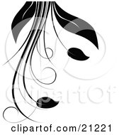 Clipart Illustration Of A Silhouetted Plant With Vines Long Leaves And Flowers Over A White Background by elaineitalia #COLLC21221-0046
