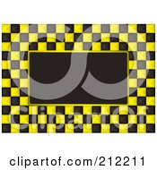 Royalty Free RF Clipart Illustration Of A Yellow And White Checkers Over Black by michaeltravers