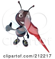 Royalty Free RF Clipart Illustration Of A 3d Skeeter Character Flying With A Thumb Up by Julos