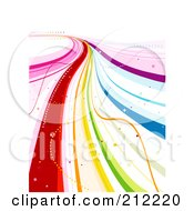 Royalty Free RF Clipart Illustration Of A Flowing Rainbow Road Of Ribbons And Sparkles On White