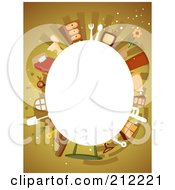 Royalty Free RF Clipart Illustration Of A White Oval Framed By Household Items On Brown