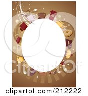 Royalty Free RF Clipart Illustration Of A White Oval Framed By Coffee Items On Brown