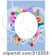 Royalty Free RF Clipart Illustration Of A White Oval Framed By Birthday Items On Blue