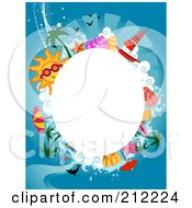 Royalty Free RF Clipart Illustration Of A White Oval Framed By Summer Items On Blue by BNP Design Studio