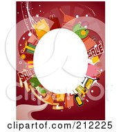 Royalty Free RF Clipart Illustration Of A White Oval Framed By Shopping Items On Red
