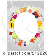 Royalty Free RF Clipart Illustration Of A White Oval Framed By Baby Items On Gray by BNP Design Studio