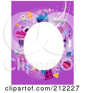 Royalty Free RF Clipart Illustration Of A White Oval Framed By Travel Items On Purple by BNP Design Studio