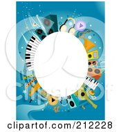 Royalty Free RF Clipart Illustration Of A White Oval Framed By Music Items On Blue by BNP Design Studio