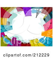 Royalty Free RF Clipart Illustration Of A View Upwards Of Tall Colorful Buildings And White Skies
