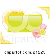 Clipart Illustration Of A Green Tag With Yellow Grasses And Pink Flowers Over A White Background by elaineitalia
