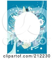 Royalty Free RF Clipart Illustration Of A White Oval Framed By Medical Items On Blue