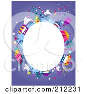 White Oval Framed By Theme Park Items On Purple