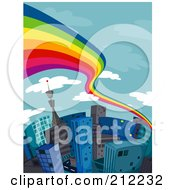 Royalty Free RF Clipart Illustration Of A Rainbow Flowing Over A City Of Tall Buildings