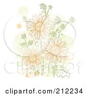 Royalty Free RF Clipart Illustration Of A Group Of Orange Flowers With Orange And Beige Spots by BNP Design Studio