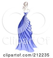 Royalty Free RF Clipart Illustration Of A Sketched Woman In A Blue Evening Gown