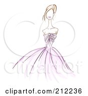 Royalty Free RF Clipart Illustration Of A Sketched Woman In A Purple Evening Gown