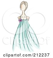 Royalty Free RF Clipart Illustration Of A Sketched Woman In A Turquoise Evening Gown