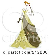 Royalty Free RF Clipart Illustration Of A Sketched Woman In A Green Evening Gown