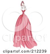 Royalty Free RF Clipart Illustration Of A Sketched Woman In A Pink Evening Gown