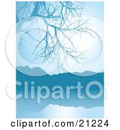 Clipart Illustration Of A Blue Lake Scene With A Bare Tree And Mountains Around Still Waters
