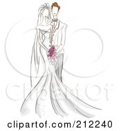 Royalty Free RF Clipart Illustration Of A Sketched Wedding Couple With The Groom Beside His Bride