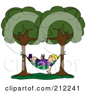 Royalty Free RF Clipart Illustration Of A Relaxed Blond Man With A Beverage Sleeping In A Hammock Between Two Trees