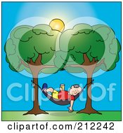 Royalty Free RF Clipart Illustration Of A Relaxed Senior Caucasian Man With A Beverage Sleeping In A Hammock Between Two Trees by Pams Clipart