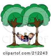 Royalty Free RF Clipart Illustration Of A Relaxed Brunette Man With A Beverage Sleeping In A Hammock Between Two Trees by Pams Clipart