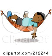 Royalty Free RF Clipart Illustration Of A Relaxed Hispanic Man With A Beer Sleeping In A Hammock by Pams Clipart