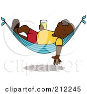 Royalty Free RF Clipart Illustration Of A Relaxed Black Senior Man With A Beer Sleeping In A Hammock by Pams Clipart