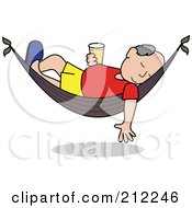Royalty Free RF Clipart Illustration Of A Relaxed Senior Caucasian Man With A Beer Sleeping In A Hammock by Pams Clipart