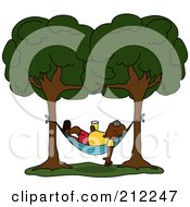 Royalty Free RF Clipart Illustration Of A Relaxed Senior Black Man With A Beverage Sleeping In A Hammock Between Two Trees by Pams Clipart
