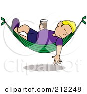 Royalty Free RF Clipart Illustration Of A Relaxed Blonde Caucasian Man With A Beer Sleeping In A Hammock by Pams Clipart