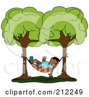 Royalty Free RF Clipart Illustration Of A Relaxed Hispanic Man With A Beverage Sleeping In A Hammock Between Two Trees by Pams Clipart