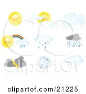 Clipart Illustration Of A Collection Of Icons Showing Full Sun Partly Cloudy Cloudy Rainbows Showers Storms And Snowflakes